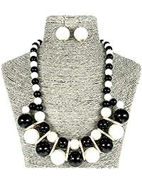 93fced527c3d Moda Joyería Simulado Perla Negro Blanco Collar y Aretes Conjunto para  Mujeres