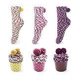 Leapop 1 oder 3 Paare Damen Mädchen Socken Cupcakes Design Flauschig Gemütliche Weiche Dicke Warme Weihnachtssocken mit Geschenkbox, 3 Paare (Gelb+lila+pink), Einheitsgröße