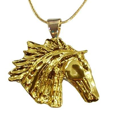 exselle Wind Spirit 22Karat Gold Teller Pferd Anhänger