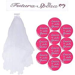 BUONDAC 【Ver. Italiano】 Kit (12 pz) Fascia Futura Sposa Italiano Bride To Be Badge Addio al Nubilato Hen Night Decorazioni Matrimonio Festa (12 Pezzi)