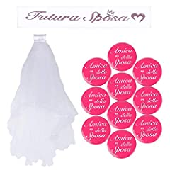 Idea Regalo - BUONDAC 【Ver. Italiano】 Kit (12 pz) Fascia Futura Sposa Italiano Bride To Be Badge Addio al Nubilato Hen Night Decorazioni Matrimonio Festa (12 Pezzi)