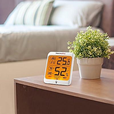 ThermoPro TP53 digitales Thermo-Hygrometer Raumluftüberwachtung Temperatur und Luftfeuchtigkeitmessgerät mit Hintergrundbeleuchtung von ThermoPro bei Du und dein Garten
