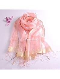 YRXDD La zona dorada de seda pañuelo de seda salvaje perla chal de primavera y otoño,hembra,Rosa