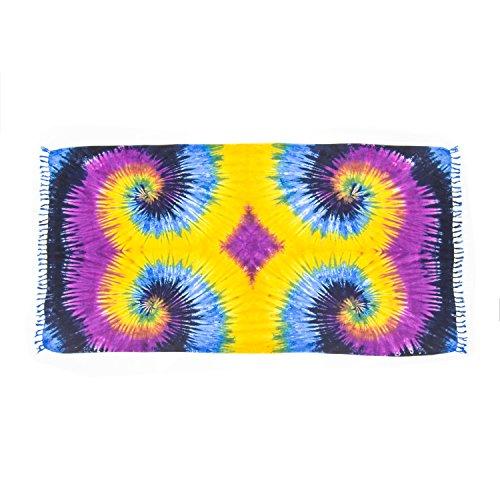 MANUMAR pareo mare donna opaco, telo mare sarong Visual 70s lilla nero, XXL grande formato...