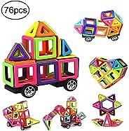 76 PCS Magnetic Tiles Building Blocks Set, Building Block Preschool Educational Construction Kit