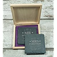 2 Personalised Mr & Mrs wedding Gift Natural Slate Coasters – Custom Made Wedding Date Newlyweds Engraved Anniversary Gifts Keepsake - L1230