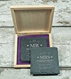 Best Gifts For Newlyweds - 2 Personalised Mr & Mrs wedding Gift Natural Review