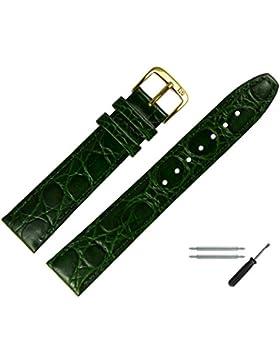 Uhrenarmband 18 mm Leder grün - inkl. Federstege & Werkzeug - Armbanduhren Ersatzband mit Krokoprägung - Marburger...