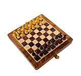 """Wooden Magnetic Chess 7X7"""" By-Wigano.Folding Standard Magnetic Travel Chess Board Game Made In Finest Wood With Wooden Magnetic Pawns"""
