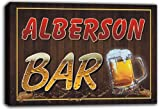 scw3-021590 ALBERSON Name Home Bar Pub Beer Mugs Stretched Canvas Print Sign
