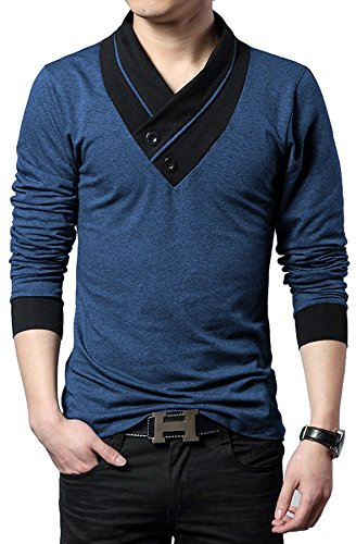 "Seven Rocks Men's V-Neck Cotton Tshirt ""Unique Neck Navy Melange"" (Large)"