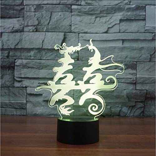 Mmzki 3D Usb Dragon Et Phoenix Double Bonheur Nightlight Led Coloré Visuel Lampe De Table Usb Luminaria Chinois Marry Home Decor Cadeau