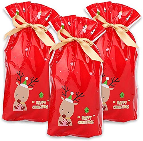 UKtrade 50pcs Red Plastic Candy Bags Christmas Elk Candy Sweet Treat Bags Xmas Festival Gifts Holders Bake Biscuit Cookies Packaging Bags