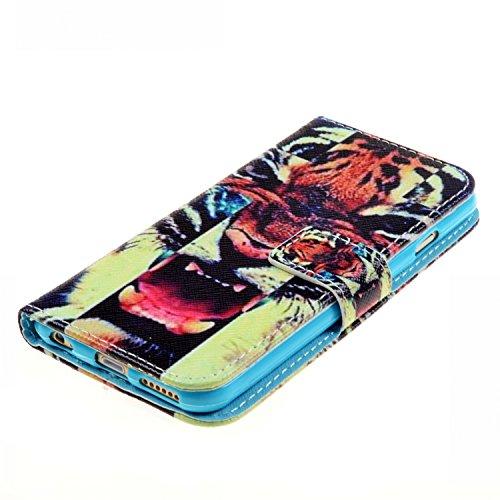 iPhone 6S plus Flip Hülle,iPhone 6 plus Case,iPhone 6S plus Tasche - Felfy Handytasche für Apple iPhone 6 / 6S plus Vintage Mond Liebe Vogel Stil mit Ständer Halter Card Slot Magnetic Button PU Leder  Tiger