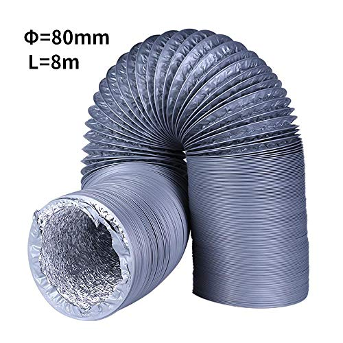 DokFin HVAC Ducting, Non-Insulated Flex Air Aluminum Ducting Dryer Vent Hose for Ventilation, PVC & Double Layer Aluminum foil 3.15 in & 4 in Air Duct, 3.3FT & 26.25FT Long