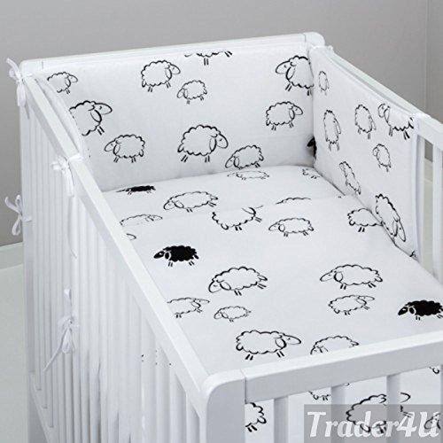 Bettwäsche-Set mit 6Stück Kinderbett 120x 60cm Bettlaken Bettbezug und Kissen, - Bettwäsche Weiße Stoßstange Kinderbett