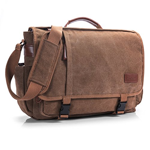 CoolBELL Aktentasche Messenger Bag Umhängetasche Laptop Tasche Handtasche Business Briefcase Multifunktions Reise Tasche Notebook Schultertasche Passend für 15,6 Zoll Laptop / Damen / Herren(Canvas Coffee)
