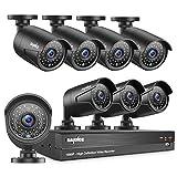 SANNCE Videoüberwachung Überwachungskamera HD 8CH 1080P CCTV System DVR Recorder Überwachungssystem mit 8 x 1080P Kameras für Innen und außen Bereich Ohne Festplatte Nachtsicht Zwischen 20-30 Meter