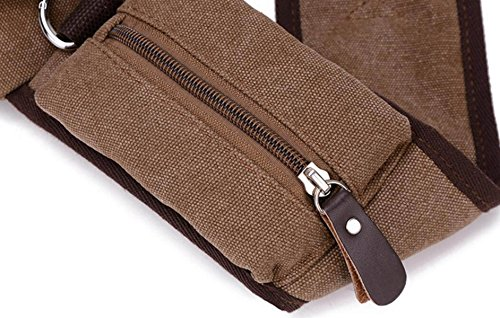 FZHLY Koreanische Version Der Männer Messenger Bag Multifunktionales Leinwand Chest Tasche,Black Khaki