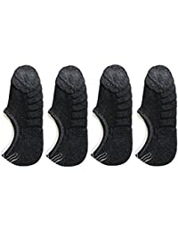 Me Stores Men's Loafer Socks Towel Socks No Show socks With Silicon Support (Pack Of 4) (Black)
