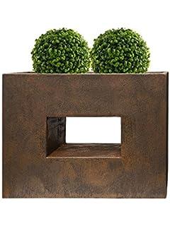 TERAPLAST Pflanzk/übel W/ürfel gro/ß eckig Hoch Pflanz Gef/ä/ß Blumen Topf K/übel Kunststoff Schio Cubo 30 bronze