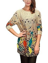 DJT Femme T-shirt Manches Longues Lache occasionnel motifs differents Blouse Pull-over
