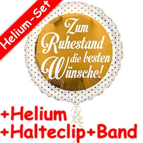 UM RUHESTAND * + HELIUM FÜLLUNG + HALTE CLIP + BAND * für Glückwunsche zum Renteneintritt | Aufgeblasen mit Ballongas | Pension Rente Glückwunsch Deko Dekoration Folien Ballon ()
