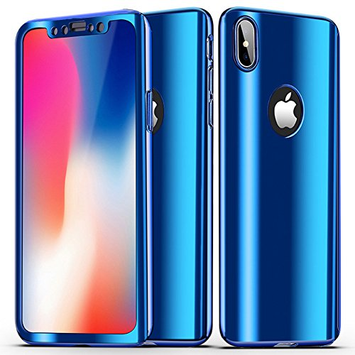 Custodia iphone xs, iphone x cover 360 gradi, saincat custodia in hard plastic protettiva cover per iphone xs/iphone x, 360 gradi full body 3d specchio custodia in ultra slim hard case ultra sottile custodia pc hard cover case shock-absorption custodia protettiva crystal clear cover case caso trasparente ultra thin slim protettiva anti-scratch skin cover shell coperture bumper cover per iphone xs/iphone x-blu