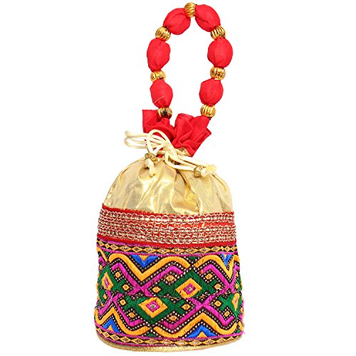 Bagaholics Ethnic Clutch Silk Potli Batwa Pouch Bag with Metal Beadwork (Red)  available at amazon for Rs.199