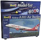 Revell Modellbausatz Flugzeug 1:144 - Airbus A320 AirBerlin im Maßstab 1:144, Level 3, originalgetreue Nachbildung mit vielen Details, Zivilflugzeug, Passagierflugzeug, Model Set mit Basiszubehör, 64861