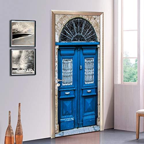 DEENLI Tür-Wand-Papier-Wandbild Vintage Blue Classic 3D Wallpaper Poster PVC Wasserdichte Wand Wohnzimmer Schlafzimmer Home Decoration Poster - Blue Classic Wallpaper