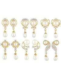 SKN Silver And Golden American Diamond Dangle & Drop Pearl Stud Earrings Combo For Women & Girls (Set Of 6) (SKN-C1116)