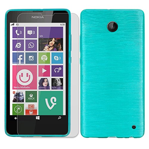 Conie SE226912 2er Set 9H Folie + Brushed Case Kompatibel mit Nokia Lumia 630, Handyhülle Set bestehend aus Folie Panzerglas & Brushed Silikon Hülle für Lumia 630 Set Blau