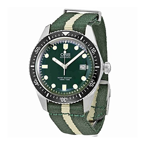 Oris Divers Sixty-Five Stainless Steel Mens Watch w/Green & White NATO Textile Strap