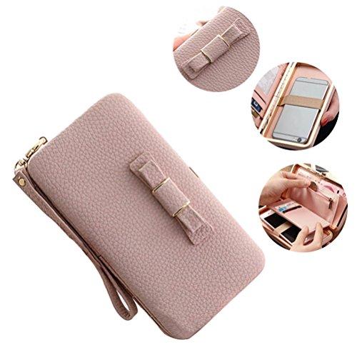 Katech Portafogli delle signore Borsa grande capacità di del moda multifunzione Wristlet Custodia Telefono caso per iPhone 7/6 / 6s, Samsung Galaxy S6 / S6 Edge o altri telefoni cellulari Pink