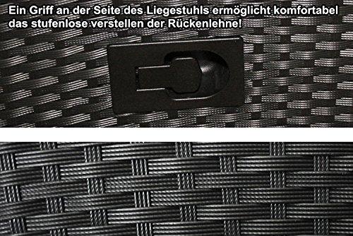 KMH® Polyrattan Liegestuhl Bob hellgrau - 3