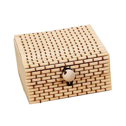 FIONAT-Schmuckkästchen Schmuckschatulle Damen Platz Große Kapazität Kreative Bambus Vorhang Schmuck Aufbewahrungsbox Retro Ring Kleinigkeiten Box, Beige -