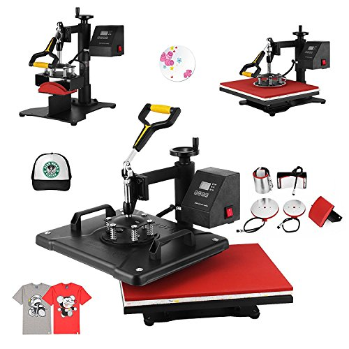 HuSuper Pressmaschine 5 In 1 Transferpresse Combo Heißpresse Digital Control Heat Press Machine Tassenpresse T-Shirtpresse mit Multifunktions für DIY Spaß