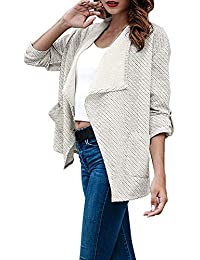 08fcf9b670bc28 Strickjacke Kolylong Damen Vintage Streifen Jacke Kurz Herbst Elegant  Mantel mit Reverskragen Klassisch Business Offene Blazer…