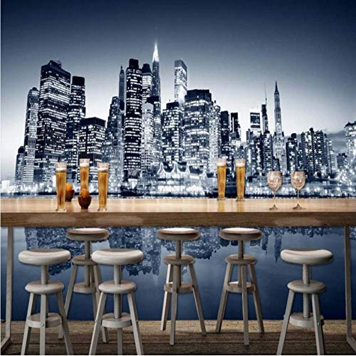 Xbwy Wallpaper 3D Custom New York City Modern High Rise Building Photography Background Wallpaper Restaurant Bar Shopping Mall Mural-350X250Cm