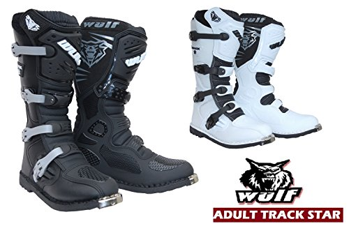 TrackStar Stivali Moto - WULFSPORT MX Stivali Motocross Quad Scooter off-Road Sportivi Cross Racing Stivale (EU 44 / UK 10, Nero)