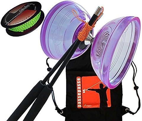 PassePasse Cloudbuster III Diabolo Triple Roulement à bille 115mm - Violet - Baguettes en Carbone Pro - Bobine du ficelle Diabolo Slide 10m- Sac à dos 'iJuggle'