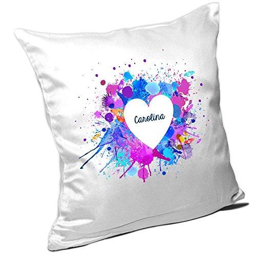 Carolina Kissen (Kissen mit Namen Carolina und schönem Motiv mit Wasserfarben-Herz zum Valentinstag - Namenskissen - Kuschelkissen - Schmusekissen)