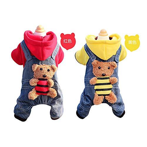 (GJFeng Hundekleidung Herbst Und Winter Kleidet Welpe Kleidung Teddybär VIP-Großhandelshaustier Vierbeinige Kleidung Als Bärntierbedarf (Farbe : Red, größe : Xs))
