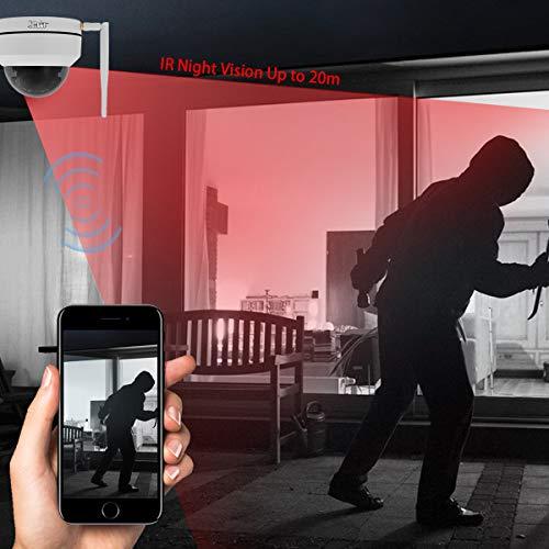 WLAN IP Kamera 1080P HD PTZ Dome Kamera 4X optisch Zoom H.265 Home Security Camera für Innen und Außen IP66 Wasserdichter eingebauter SD Kartensteckplatz