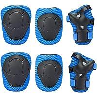 Niños Kit Protección–Sport Protective Gear para rodilleras coderas muñequeras protección Juego para Kids Skate/BMX/Scooter/bicicleta/patines en linea, turquesa