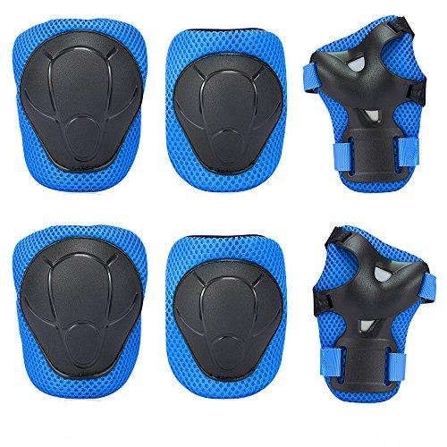 Bambini Kit protezione - Sport Protective Gear per Ginocchia gomiti Polsiere Protettivo Set Per Kids Skateboard / Bmx / Scooter / Bicicletta / Pattini in linea (Blu)