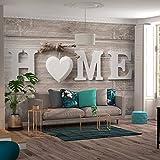 decomonkey | Fototapete Home Haus 350x256 cm XXL | Design Tapete | Fototapeten | Tapeten | Wandtapete | moderne Wanddeko | Wand Dekoration Schlafzimmer Wohnzimmer | Holz Herz grau weiß grau vintage retro | FOB0262a73XL