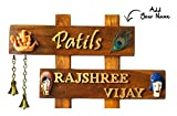#3: Vasu Art's Name Plate for House Handmade Hanging Teak Wood Waterproof Customizing 20 x 12 x 2 Inches
