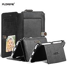 Samsung NOTE3/ NOTE4 Caso-FLOVEME 2 en 1 multi-funcional Bolso del Cuero 360 Grado de protección Completa [ Diseño magnético de la cremallera ] La Capacidad grande del estilo de la carpeta del espacio Fundas para Samsung NOTE3/ NOTE4,Negro